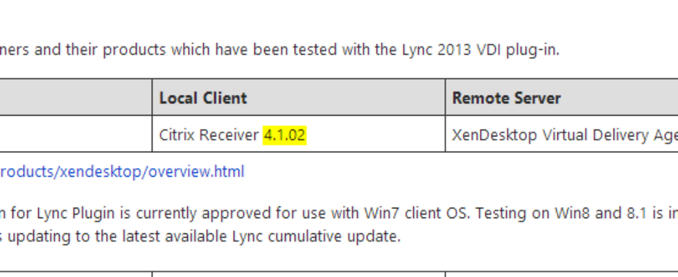 XenDesktop with Lync 2013