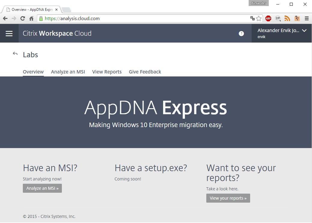 WorkSpace Cloud AppDNA Express
