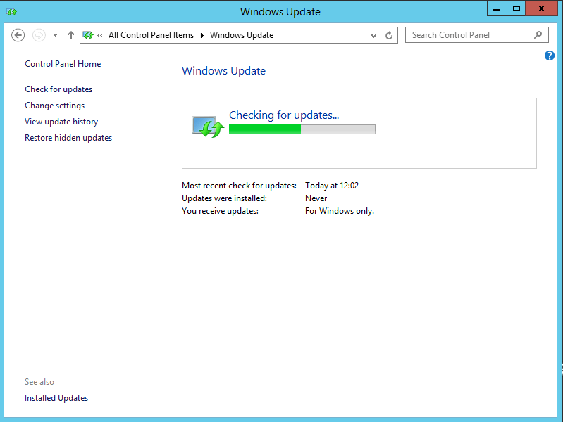 Windows Server 2012r2 and Windows 10 Windows Update hangs at every step