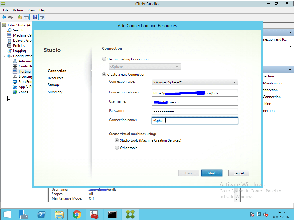 How to setup VMware vCenter with Citrix Studio